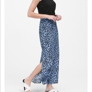 Banana Republic Leopard Maxi Blue Leopard Skirt